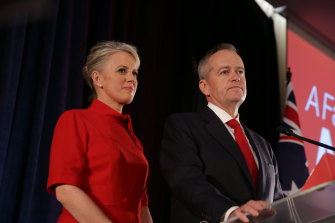 Bill Shorten gives his concession speech in Melbourne.