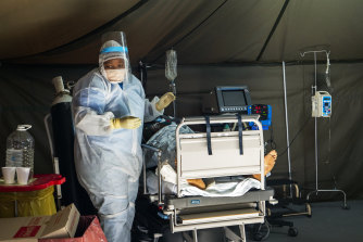 Coronavirus patients being treated at the Tshwane District Hospital in Pretoria, South Africa.
