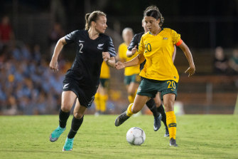 Samantha Kerr (right) and the Matildas take on New Zealand's Football Ferns to open their Tokyo 2020 campaign on Wednesday night.