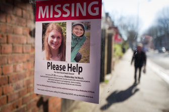 A flyer near Clapham Common in London prior to the discovery of Sarah Everard's body in Kent.