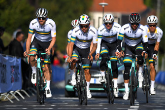 Green and gold: Caleb Ewan, second from left, and Michael Matthews, right, spearhead the Australian team that will compete in the elite men's road race world championships in Belgium on Sunday.
