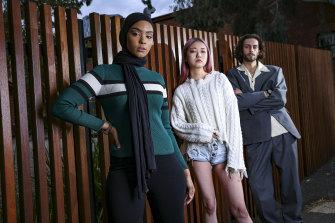 Unsigned models (from left) Urgi Baker, Reimi Kobayash and Copper Taylor-Bogaars are hoping to get their big break at Melbourne Fashion week.