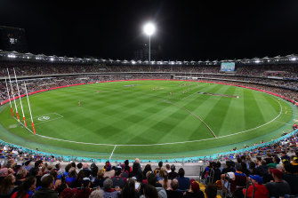 Last year's qualifying final at the Gabba between the Brisbane Lions and Richmond.