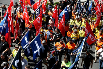 CFMMEU members at a rally in Adelaide last year. The union has declined to give the Fair Work Commission the details of employers who had underpaid their workers.