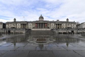 Trafalgar Square in London was deserted on Sunday due to the coronavirus lockdown.