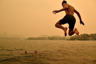 A swimmer dives into the harbour on Thursday while a smoky haze remains over Sydney.