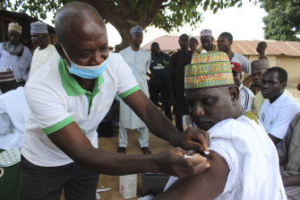 A Moderna COVID-19 vaccination is administered in Abuja, Nigeria.