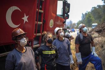 Turkish volunteers prepare to fight wildfires in Turgut village, near tourist resort of Marmaris, Mugla, Turkey.