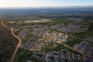 An artist impression of the future western Sydney city Bradfield.