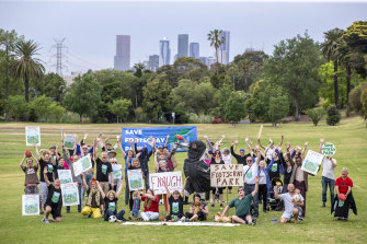 Save Footscray Park members (pictured here on Monday) gathered outside council halls before Tuesday's meeting.