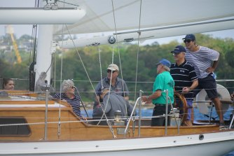 Malcolm Turnbull at the wheel of Southwinds during the Making Waves charity regatta earlier this year.