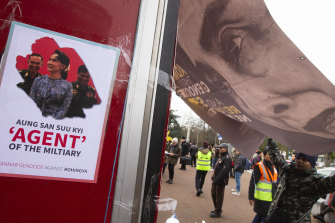 Demonstrators at a rally outside the International Court of Justice in The Hague on Tuesday.