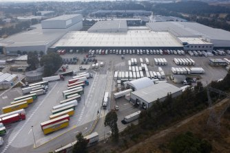 The Woolworths distribution centre at Minchinbury. Earlier this year, more than 500 Woolworths distribution employees were in isolation due to virus exposures.