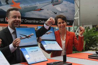Hrdlicka with former boss, Qantas head Alan Joyce, with whom she is now a direct competitor.