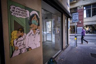 Street art in Flinders Lane.