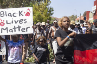 Protesters rally in Alice Springs following the death of Kumanjayi Walker.