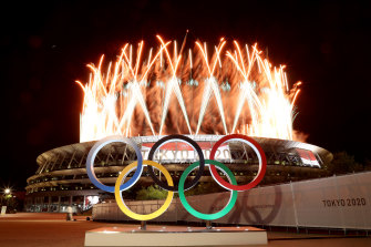 Fireworks go off during the opening ceremony of the Tokyo 2020 Olympic Games.