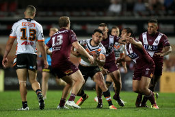 In-form flyer David Nofoaluma in action against Manly.
