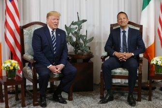 President Donald Trump with Ireland's Prime Minister Leo Varadkar on the latest leg of his overseas tour.