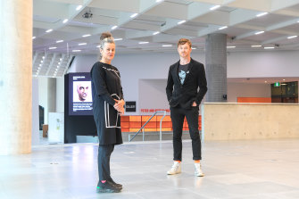 Rose Hiscock and Ryan Jefferies in the main exhibition hall of the new Science Gallery.