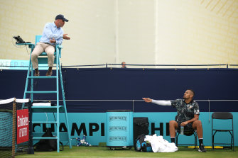 Nick Kyrgios complains to the umpire Fergus Murphy at Queen's last year.