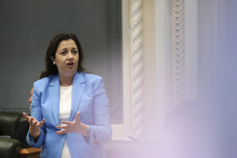 Premier Annastacia Palaszczuk in Parliament this week. She first confirmed the existence of the stacia1@bigpond.com account during a budget estimates hearing in December.
