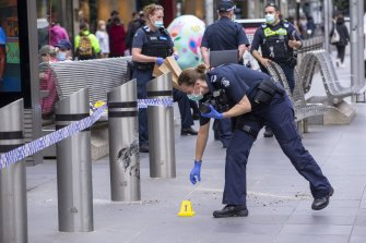 The car hit a bollard on Bourke Street Mall on Thursday evening.