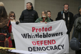 Protestors calling for greater protection of whistleblowers.