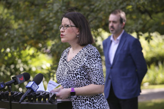 Health Minister Jenny Mikakos gives an update on the coronavirus in Melbourne on Sunday.