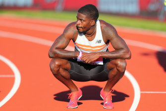 Trayvon Bromell in 'super' shoes after winning the men's 100 metres during the Muller British Grand Prix in July.