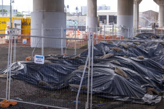 Piles of contaminated soil from the West Gate Tunnel project.