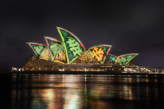 Yarrkalpa - Hunting Ground by the Martu Artists will light the sails of the Sydney Opera House for this year's Vivid Festival.