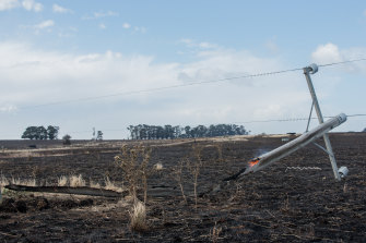 An investigation found one of the fires was sparked when a 50-year-old power pole on a property near Garvoc snapped in high winds.