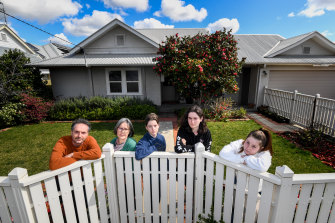 The DePaola family isolating in Shepparton: Mark, Amy, Tom, Alex and Zoe.