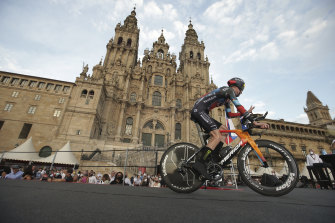 Bahrain Victorious rider Jack Haig passes the cathedral in Santiago during Sunday's final stage.