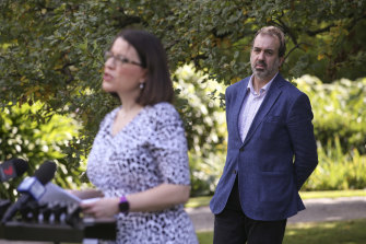 Andrews government ministers Jenny Mikakos and Martin Pakula at a press conference where security guards were discussed.