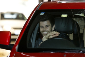Trent Cotchin at Marvel Stadium for the drive-through test.