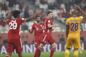 Benjamin Pavard (centre) celebrates what proved the decisive goal for Bayern Munich against Mexican side Tigres in the Club World Cup final.