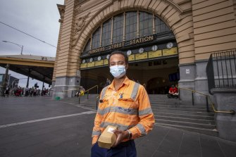 Myles Baiden Assan says most passengers were wearing masks on the train to the city on Monday.