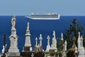 The Ruby Princess sits off the Sydney coastline in April.