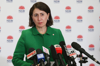 NSW Premier Gladys Berejiklian during Wednesday's COVID-19 update and press conference.