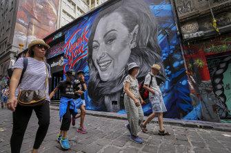 A mural in Hosier Lane of comedian Celeste Barber, who raised millions for bushfire relief through a social media appeal.