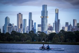 Melbourne's skyline as seen from Albert Park Lake.