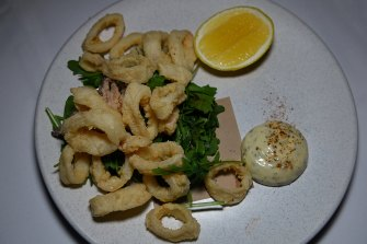 Six spices calamari with rocket and tarragon mayonnaise.