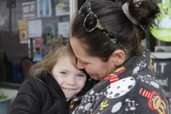 Alice, 4, has been sleeping in a car with her mother Sharra.