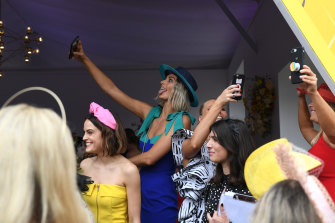 Birdcage selfie time during the 2018 Melbourne Cup meeting.