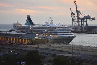 MV Artania docked in Fremantle.