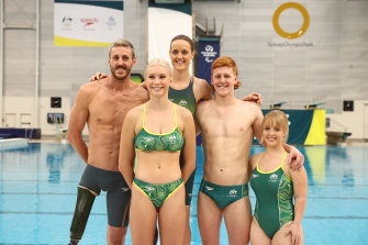 Members of the Australian Paralympics swimming team, from left, Brenden Hall, Keira Stephens, Ellie Cole, Col Pearse and Tiffany Thomas Kane at their uniform launch for the Tokyo Games.