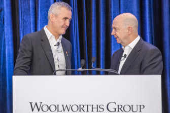 Woolworths CEO Brad Banducci (l) and chairman Gordon Cairns have apologised for the company's failings when planning to build the Dan Murphy's site.