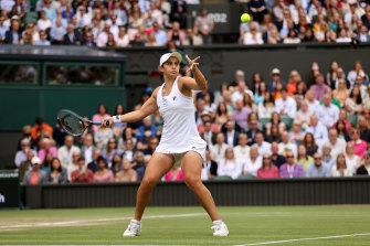 Ashleigh Barty in front of a packed house at the Wimbledon final.